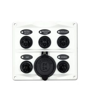 Guardian Toggle Switch Panel 5P with USB Charger