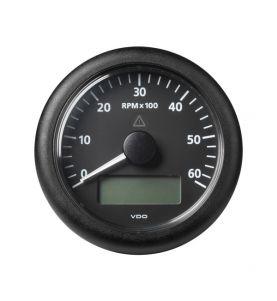 VDO Viewline 85mm Tacho/Hours/Voltage/Clock 6000rpm