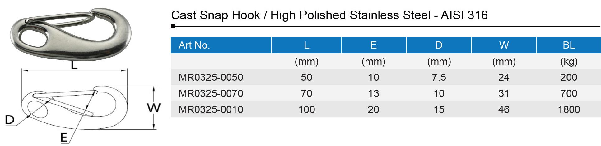 Stainless Steel Spring Snap Hook