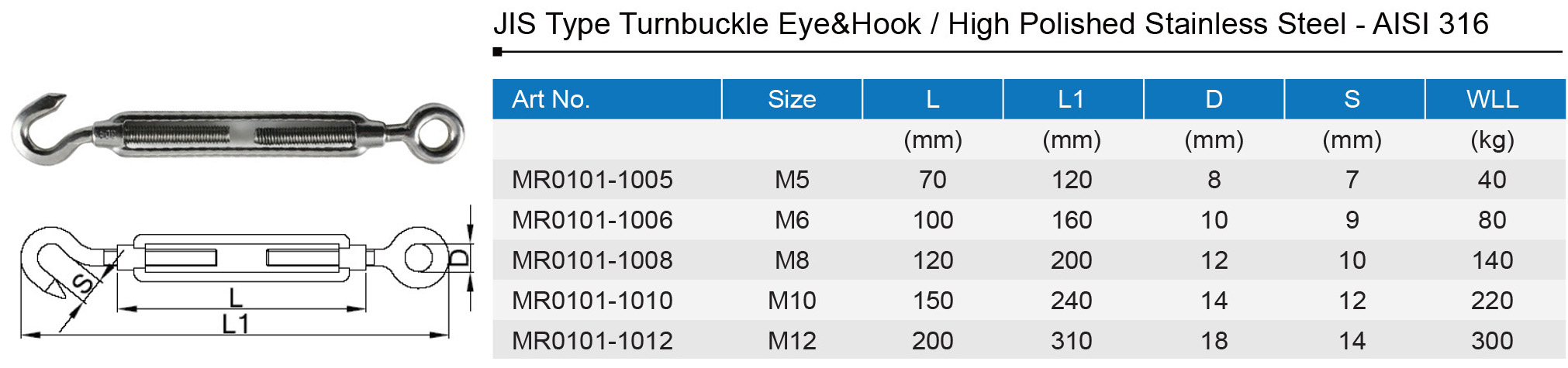 Turnbuckle Hook & Eye